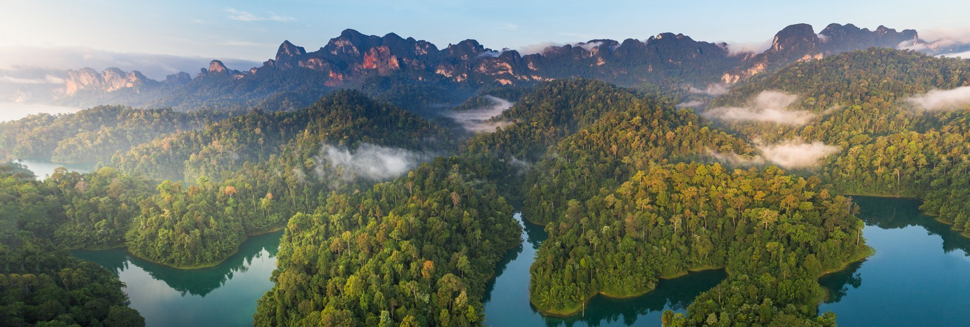 View of tropical rainforest over Khao Sok National Park