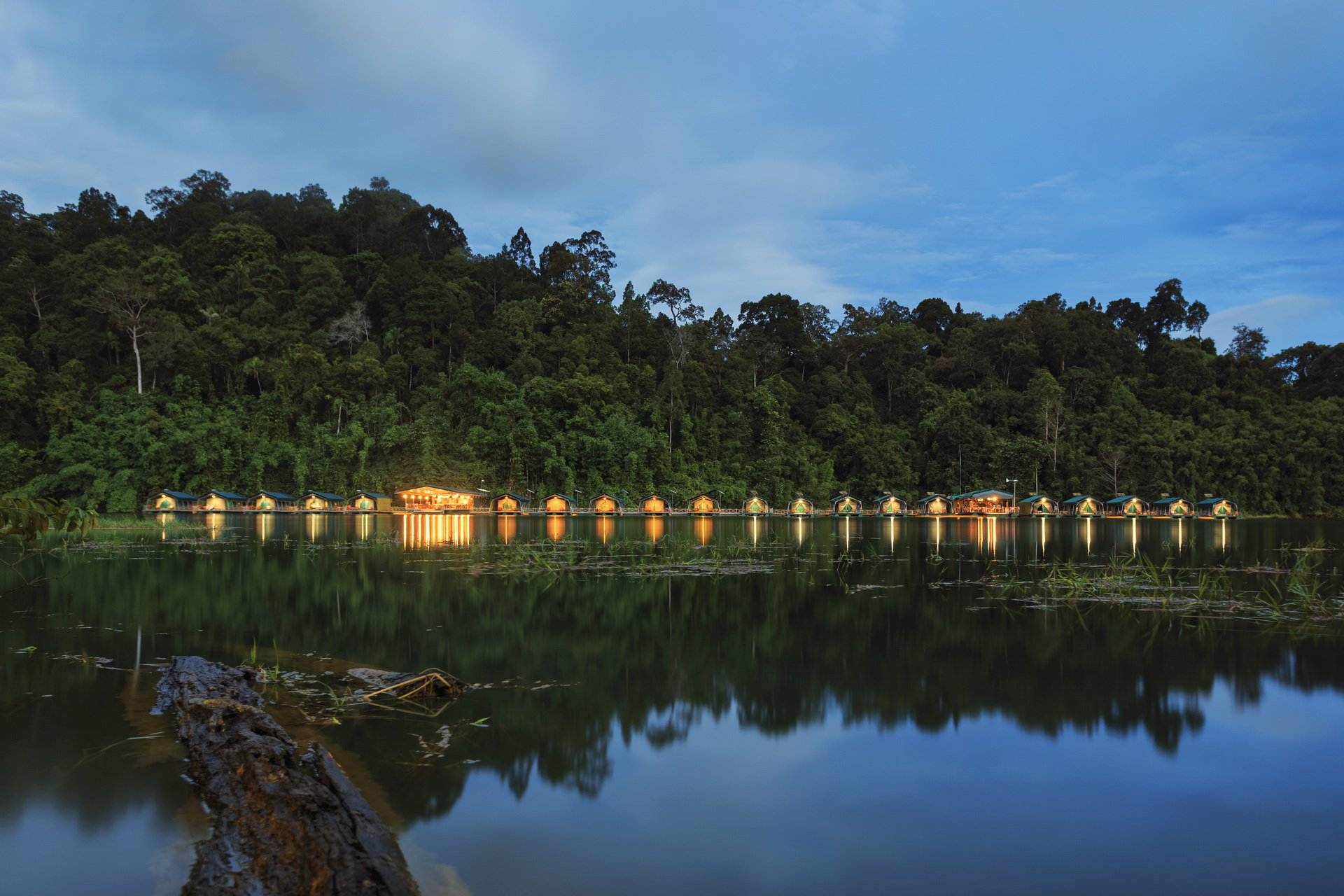 Cheow Larn Lake, man-made lake in Khao Sok, floating bungalows available on recommended tours.